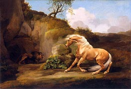 A Horse Frightened by a Lion, c.1790/95 by George Stubbs | Painting Reproduction