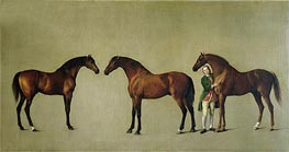 'Whistlejacket' and Two other Stallions with Simon Cobb, the Groom, 1762 by George Stubbs | Painting Reproduction