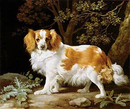 A Liver and White King Charles Spaniel in a Wooded Landscape | George Stubbs | Painting Reproduction