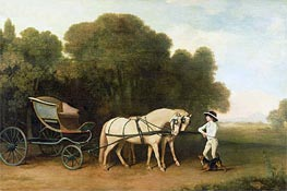 A Phaeton with a Pair of Cream Ponies in the Charge of a Stable-Lad, c.1780/85 von George Stubbs | Gemälde-Reproduktion