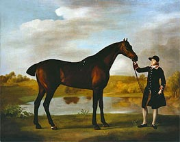The Duke of Marlborough's Bay Hunter, with a Groom in Livery in a Lake Landscape, undated von George Stubbs | Gemälde-Reproduktion
