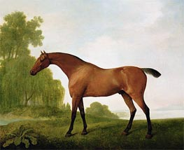 A Bay Thoroughbred in a Landscape, 1801 by George Stubbs | Painting Reproduction