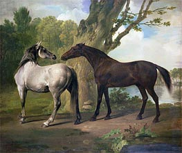 Two Horses in a Landscape, undated von George Stubbs | Gemälde-Reproduktion