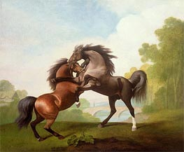 Horses Fighting, 1791 von George Stubbs | Gemälde-Reproduktion