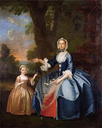Portrait of Mrs Dawson of Retford and Her Daughter, c.1749 von George Stubbs | Gemälde-Reproduktion