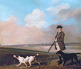 Sir John Nelthorpe, 6th Baronet out Shooting with his Dogs in Barton Field, Lincolnshire, 1776 by George Stubbs | Painting Reproduction