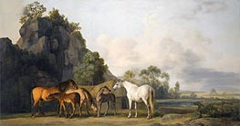 Brood Mares and Foals, undated by George Stubbs | Painting Reproduction