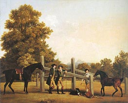 William Henry Cavendish-Bentinck, Third Duke of Portland and His Brother Lord Edward Bentinck with a Groom and Horses, c.1866/67 von George Stubbs | Gemälde-Reproduktion