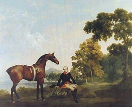 Portrait of a Hunter (James Hamilton, Second Earl of Clanbrassill with His Horse Mowbray) | George Stubbs | Painting Reproduction