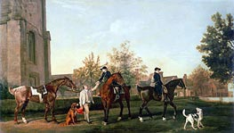 Lord Torrington's Hunt Servants Setting Out from Southill, Bedfordshire, 1767 von George Stubbs | Gemälde-Reproduktion