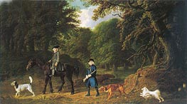 Lord Torrington's Steward and Gamekeeper with Their Dogs at Southill Bedfordshire | George Stubbs | Painting Reproduction