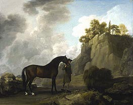 The Marquess of Rockingham's Arabian Stallion (led by a Groom at Creswell Crags) | George Stubbs | Painting Reproduction
