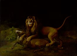 A Lion Attacking a Stag | George Stubbs | Painting Reproduction