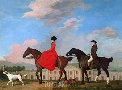 John and Sophia Musters Out Riding at Colwick Hall, 1777 | George Stubbs | Painting Reproduction