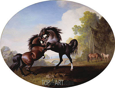 Stallions Fighting, 1781 | George Stubbs | Gemälde Reproduktion