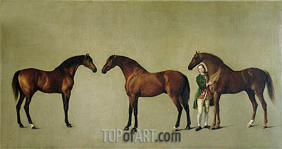 'Whistlejacket' and Two other Stallions with Simon Cobb, the Groom, 1762 | George Stubbs | Painting Reproduction