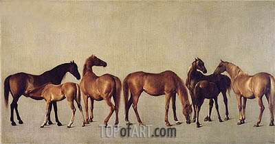 Mares and Foals without a Background, c.1762 | George Stubbs | Painting Reproduction