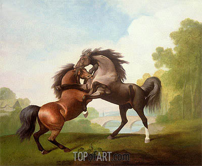 Horses Fighting, 1791 | George Stubbs | Gemälde Reproduktion