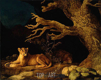 Lion and Lioness, 1771 | George Stubbs | Painting Reproduction