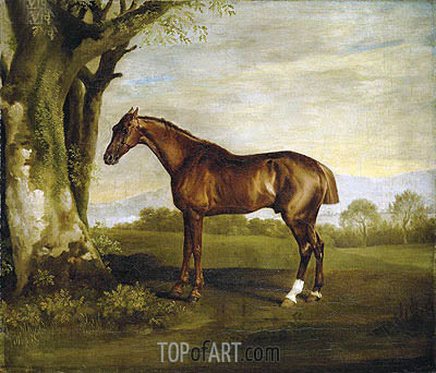 Antinoüs, a Chestnut Racehorse in a Landscape, undated | George Stubbs | Painting Reproduction