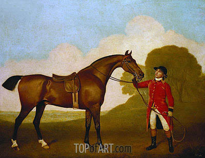A Bay Horse with a Groom, 1791 | George Stubbs | Painting Reproduction