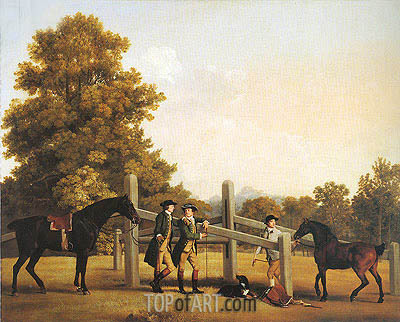 William Henry Cavendish-Bentinck, Third Duke of Portland and His Brother Lord Edward Bentinck with a Groom and Horses, c.1866/67 | George Stubbs | Gemälde Reproduktion