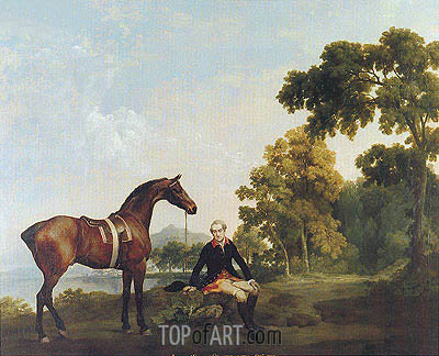 Portrait of a Hunter (James Hamilton, Second Earl of Clanbrassill with His Horse Mowbray), c.1764/65 | George Stubbs | Painting Reproduction