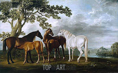 Mares and Foals in a River Landscape, c.1763/68 | George Stubbs | Painting Reproduction