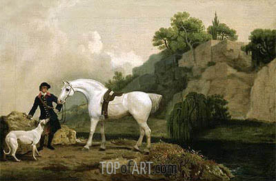 A Grey Hunter with a Groom and a Greyhound at Creswell Crags, c.1762/64   George Stubbs   Painting Reproduction