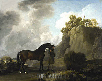 The Marquess of Rockingham's Arabian Stallion (led by a Groom at Creswell Crags), 1766 | George Stubbs | Painting Reproduction