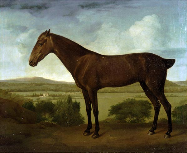 Brown Horse in a Hilly Landscape, c.1785 | George Stubbs | Painting Reproduction