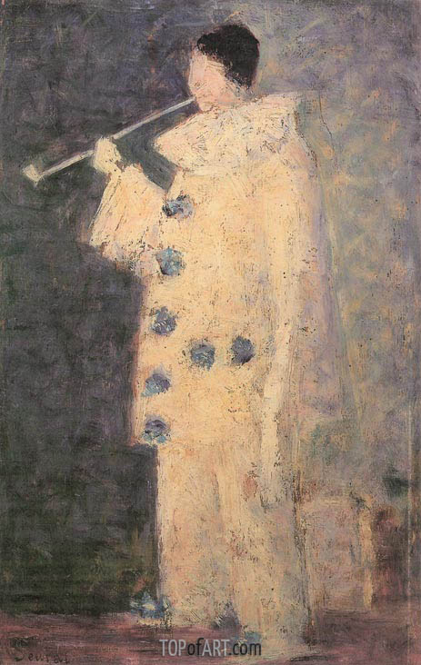 Pierrot with a White Pipe, 1883 | Georges Seurat | Painting Reproduction