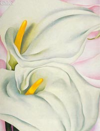 Two Calla Lilies on Pink | O'Keeffe | Painting Reproduction