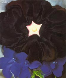 Black Hollyhock, Blue Larkspur | O'Keeffe | Painting Reproduction