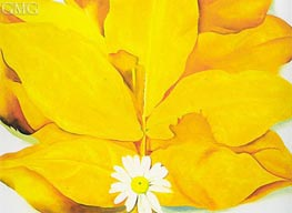 Yellow Hickory Leaves with Daisy | O'Keeffe | Painting Reproduction