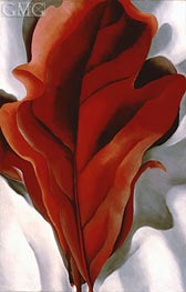 Large Dark Red Leaves on White | O'Keeffe | Painting Reproduction