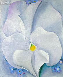 White Pansy (Pansy with Forget-me-nots) | O'Keeffe | Painting Reproduction