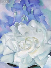 White Rose with Larkspur II, 1927 by O'Keeffe | Painting Reproduction