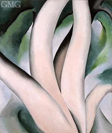Birch Trees at Dawn on Lake George, 1925 by O'Keeffe | Painting Reproduction
