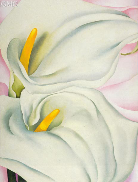 Two Calla Lilies on Pink, 1928 | O'Keeffe | Gemälde Reproduktion