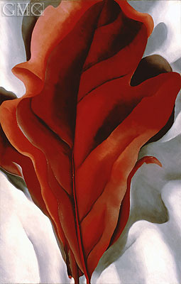 Large Dark Red Leaves on White, 1925 | O'Keeffe | Painting Reproduction