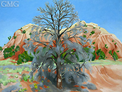 Dead Tree with Pink Hill, 1945 | O'Keeffe | Painting Reproduction