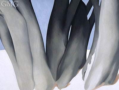 Bare Tree Trunks with Snow, 1946 | O'Keeffe | Painting Reproduction