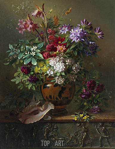 Still Life with Flowers in a Greek Vase: Allegory of Spring, 1817 | Georgius van Os | Painting Reproduction