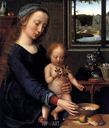 Virgin and Child with the Milk Soup, c.1515 | Gerard David | Gemälde Reproduktion