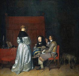 Paternal Admonition, c.1655 by Gerard ter Borch | Painting Reproduction