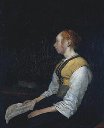 Girl in Peasant Costume, the Painter's Half-Sister, c.1650 von Gerard ter Borch | Gemälde-Reproduktion