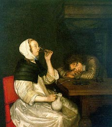 Woman Drinking with Sleeping Soldier, early 1660 by Gerard ter Borch | Painting Reproduction