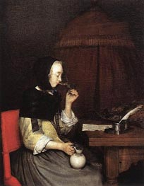 Woman Drinking Wine, c.1656/57 by Gerard ter Borch | Painting Reproduction