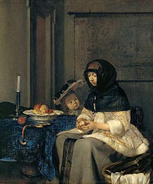 Woman Peeling Apples, 1660 by Gerard ter Borch | Painting Reproduction